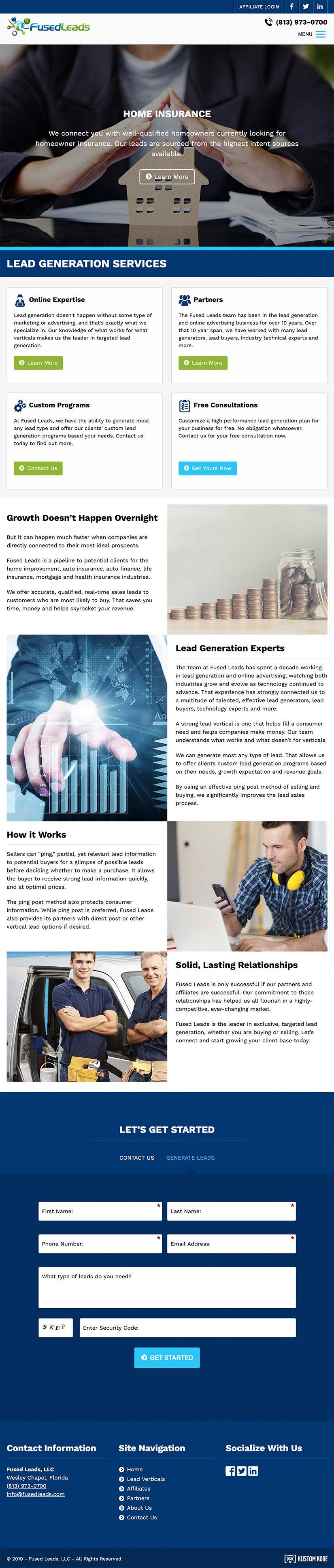 Web Design for a Lead Generation Company