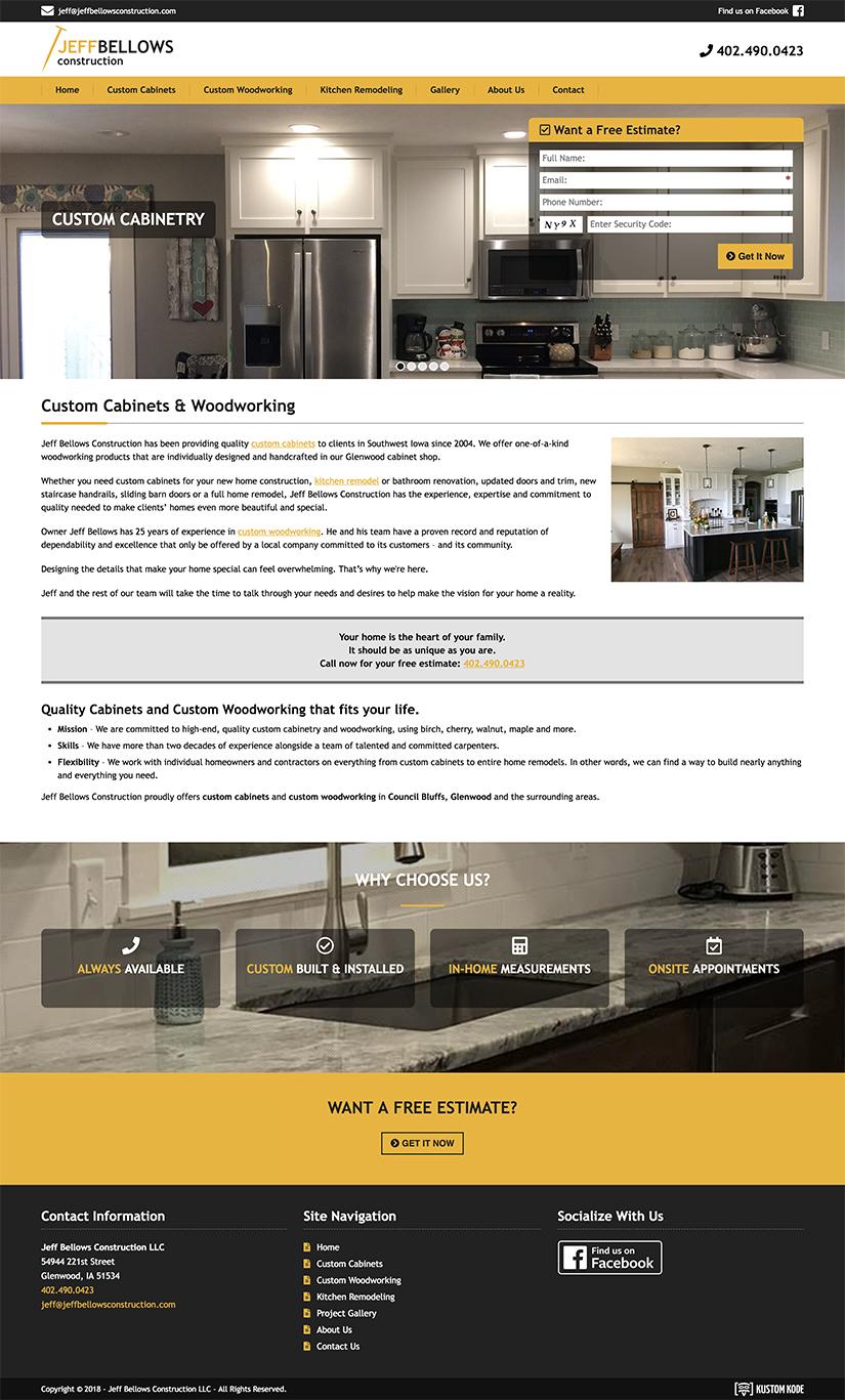 Web Design for a Custom Cabinet Manufacturer